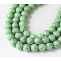Magnesite Beads, Pastel Green, 8mm Round