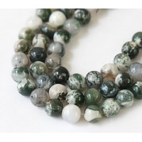 Tree Agate Beads, Green and White, 8mm Round