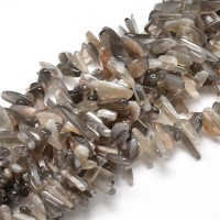 Agate Stick Beads, Grey, 8-30mm