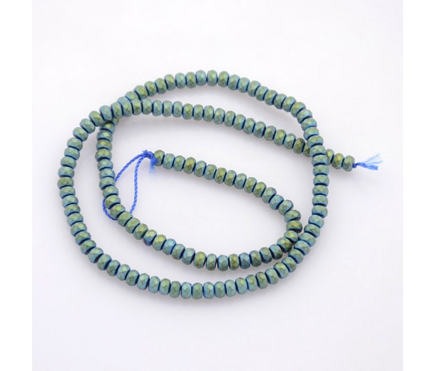 Matte Hematite, Teal Green, 3x4mm Faceted Rondelle