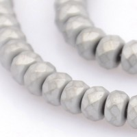 Matte Hematite, Grey, 3x4mm Faceted Rondelle