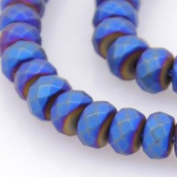 Matte Hematite, Cobalt Blue, 3x4mm Faceted Rondelle