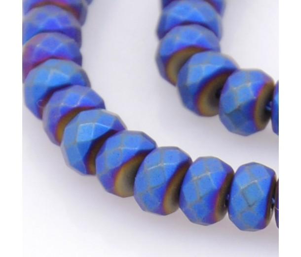 Matte Hematite, Cobalt Blue, 3x4mm Faceted Rondelle