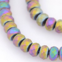 Matte Hematite, Rainbow AB, 3x4mm Faceted Rondelle