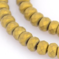 Matte Hematite, Old Gold, 3x4mm Faceted Rondelle