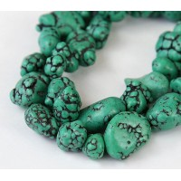 Magnesite Beads, Green, Small to Medium Nugget