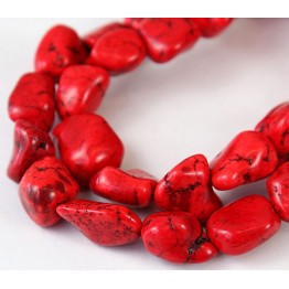 Magnesite Beads, Bright Red, Small to Medium Nugget