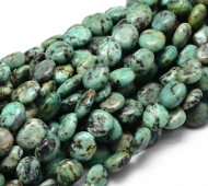 African Turquoise Beads, Green, Oval Nugget