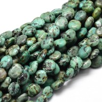 African Turquoise Beads, Natural Green, Oval Nugget