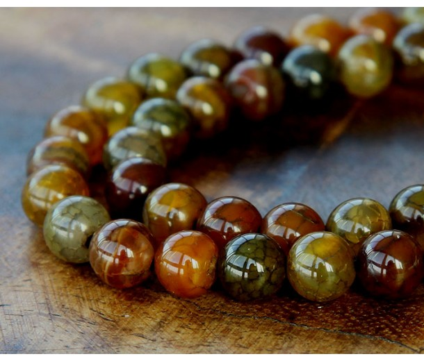 Fire Crackle Agate Beads, Earthy Mix, 8mm Round