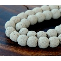 Lava Rock Beads, Beige, 10mm Round