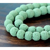Lava Rock Beads, Celadon Green, 8mm Round