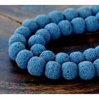 Lava Rock Beads, Denim Blue, 10mm Round