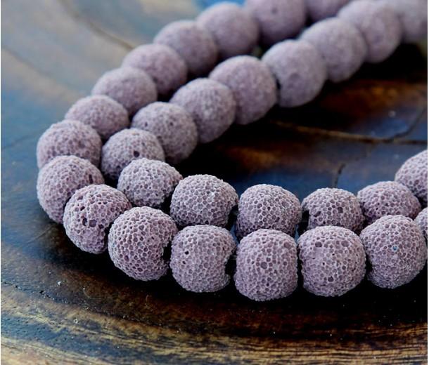Lava Rock Beads, Mauve, 10mm Round