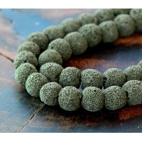 Lava Rock Beads, Dark Olive Green, 8mm Round