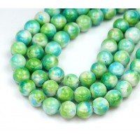 Blue Green Mix Multicolor Jade Beads, 8mm Round