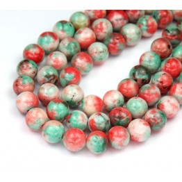 Coral and Teal Opaque Multicolor Jade Beads, 8mm Round