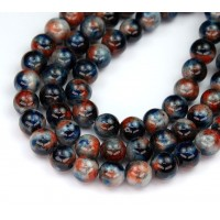 Blue and Orange Multicolor Jade Beads, 8mm Round
