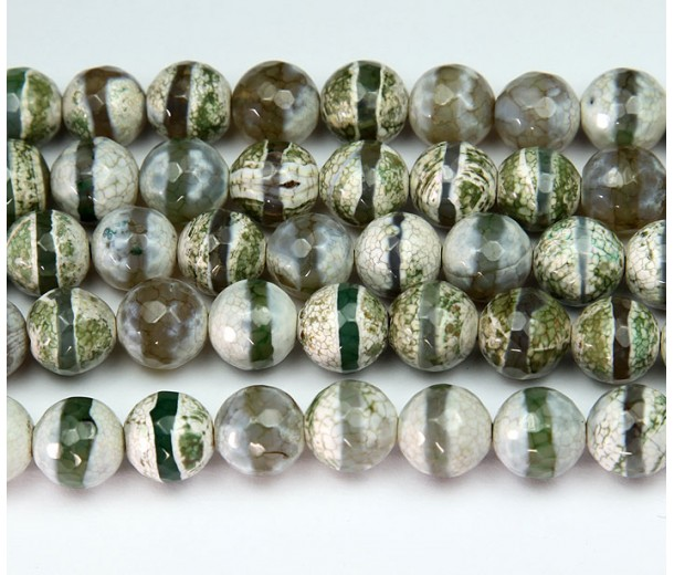 Dzi Agate Beads, Olive Green Stripe, 10mm Faceted Round