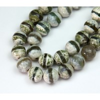 Dzi Agate Beads, Olive Green Stripe, 8mm Faceted Round