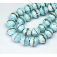 Fire Crackle Agate Beads, Cyan Blue Stripe, 10mm Faceted Round