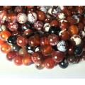 Fire Crackle Agate Beads, Dark Caramel Mix, 10mm Faceted Round