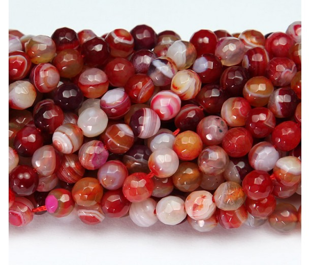 Agate Beads, Red and White Mix, 8mm Faceted Round