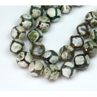 Dzi Agate Beads, Olive Green Football, 10mm Faceted Round