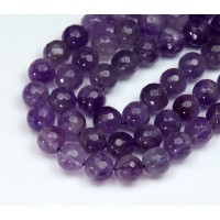 Amethyst Beads, Medium Purple, 8mm Faceted Round