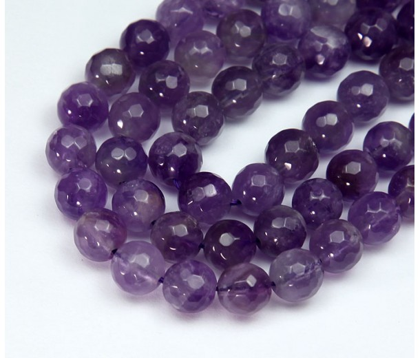 Amethyst Beads, Natural Medium Purple, 8mm Faceted Round