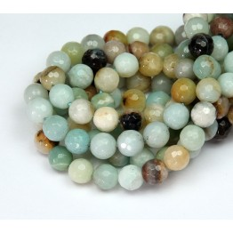 Amazonite Beads, Multicolor, 6mm Faceted Round