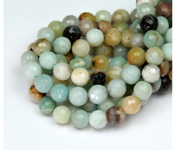 Amazonite Beads, Natural Multicolor, 6mm Faceted Round