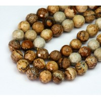 Picture Jasper Beads, 6mm Faceted Round
