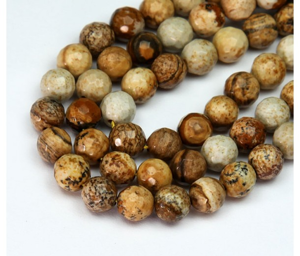 Picture Jasper Beads, Natural, 6mm Faceted Round