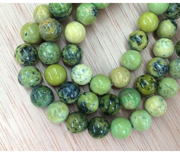 Yellow Turquoise Beads, 10mm Round