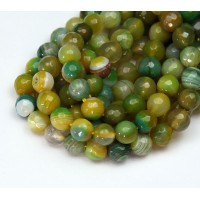 Agate Beads, Yellow and Green, 8mm Faceted Round