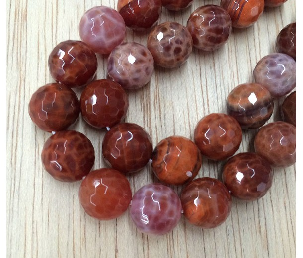Fire Agate Beads, Orange, 10mm Faceted Round