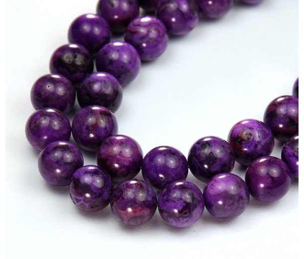 Crazy Lace Agate Beads, Purple, 10mm Round