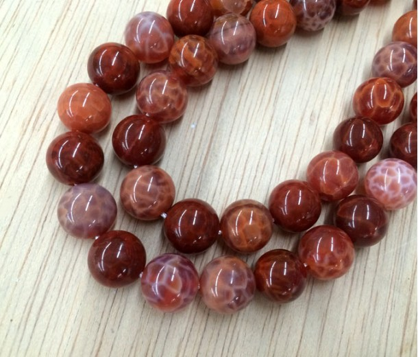 Fire Agate Beads, Red Orange, 10mm Round
