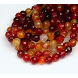 Agate Beads, Red and Yellow, 6mm Faceted Round