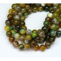 Striped Agate Beads, Yellow Green and Brown, 6mm Round