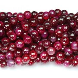 Agate Beads, Dark Magenta, 8mm Faceted Round