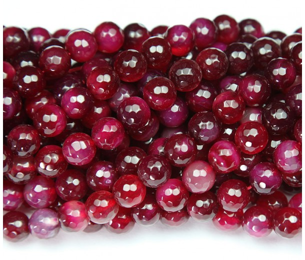 Agate Beads, Dark Magenta, 6mm Faceted Round