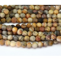 Matte Crazy Lace Agate Beads, Yellow, 6mm Round