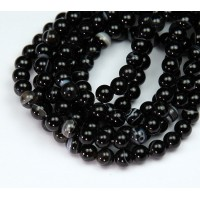 Striped Agate Beads, Black, 6mm Round