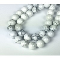 Howlite Beads, White, 10mm Round