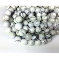 Howlite Beads, White, 8mm Round