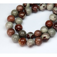 Artistic Jasper Beads, Grey and Brown, 10mm Round