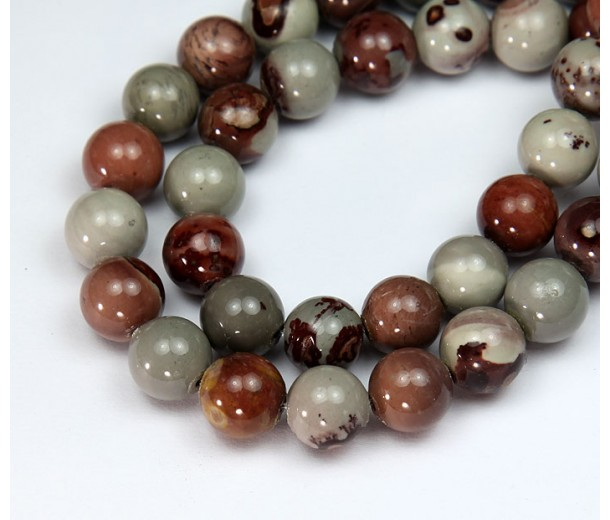Artistic Jasper Beads, Natural, Grey and Brown, 10mm Round