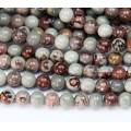 Artistic Jasper Beads, Grey and Brown, 10mm Round